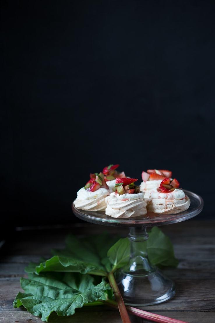 12 Delicious Spring Recipes to celebrate the season!   Mini Rhubarb and Strawberry Meringues, easy and fun to make!   www.feastingathome.com
