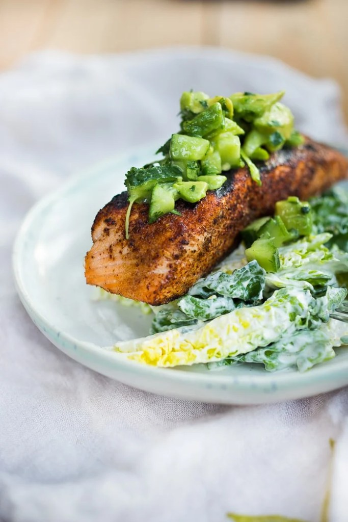 Grilled Salmon with Avocado Salsa and over greens with Cilantro Lime Dressing ...can be made in 20 minutes!| www.feastingathome.com