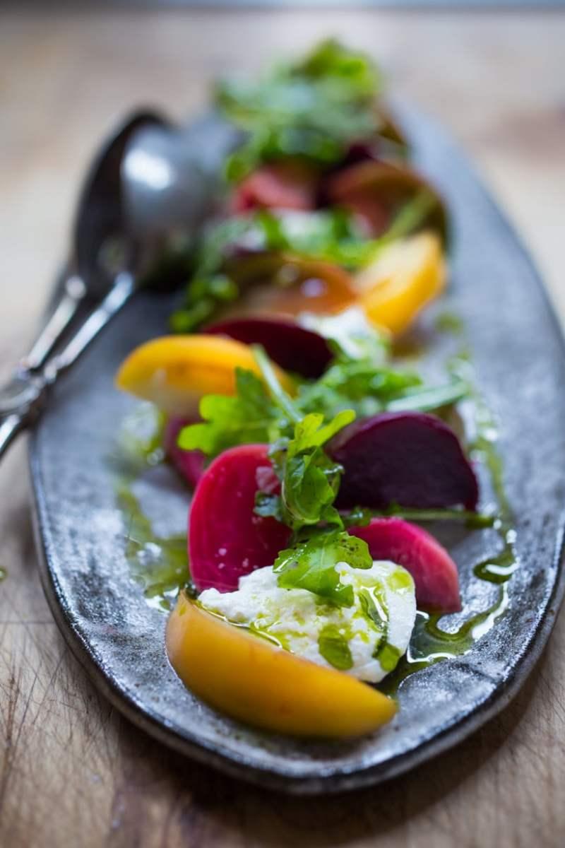 Heirloom Tomato, Beet and Burrata Salad with Basil Oil
