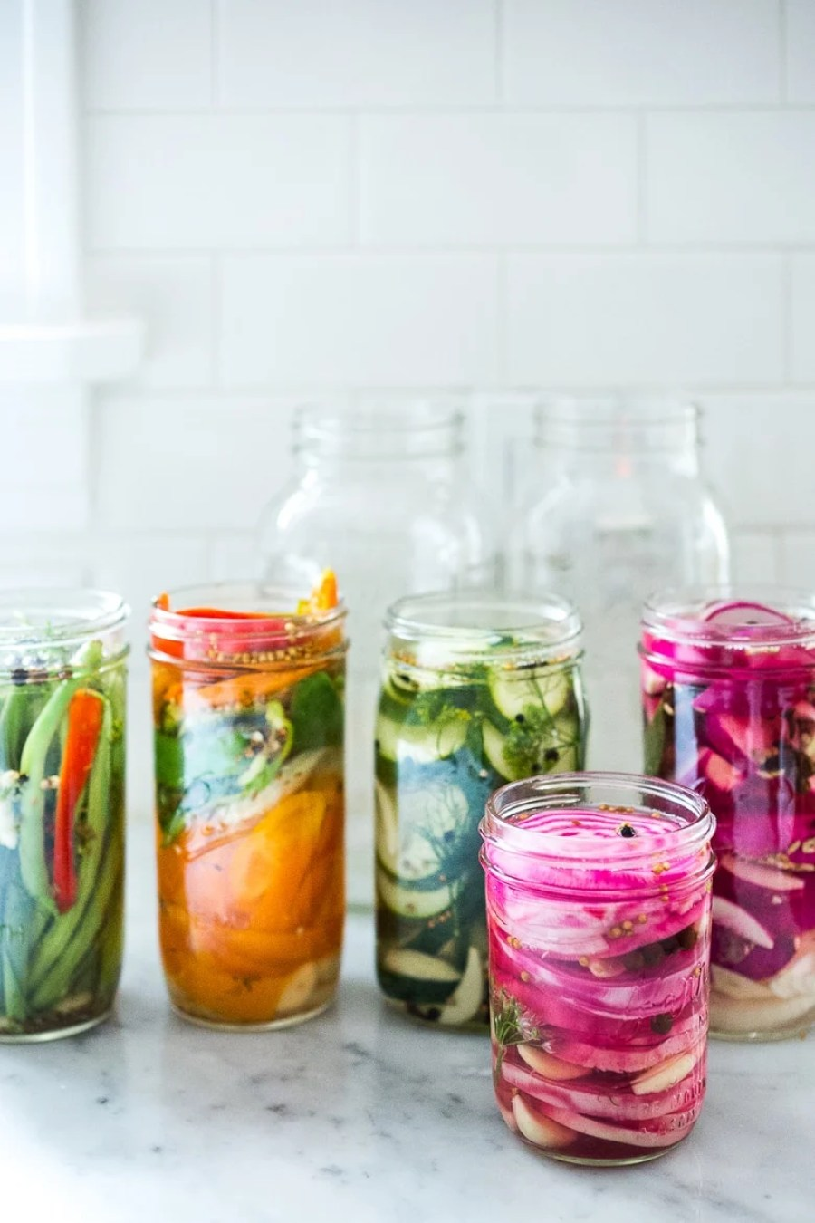 Extend the life of summer produce with the simple recipe for Quick Refrigerator pickles! Try this with Beets, turnips radishes, carrots or green beans! | www.feastingathome.com