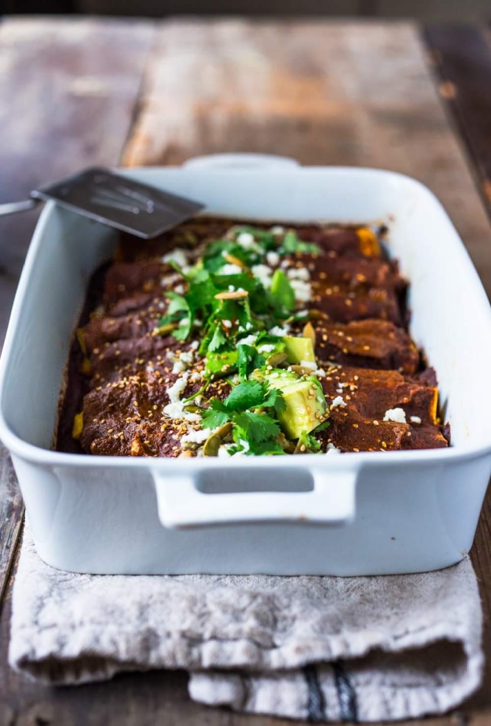 Roasted Butternut Mole Enchiladas