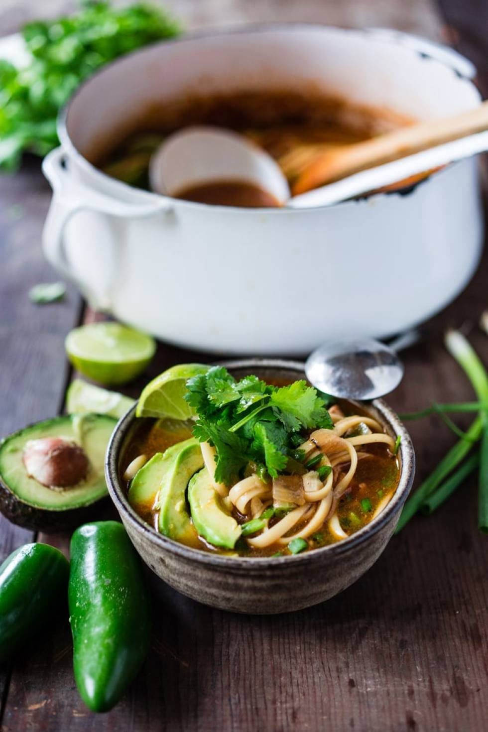 10 FEEL BETTER Brothy Soups to heal, comfort and help build immunity. Mexican Chicken ( or Chickpea) Noodle Soup | www.feastingathome.com