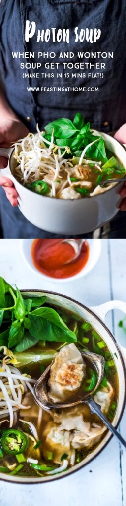 """Lightening Speed"" Photon Soup- a cross between Pho and Wonton Soup that can be made in 15 mins flat! Healthy and tasty! 
