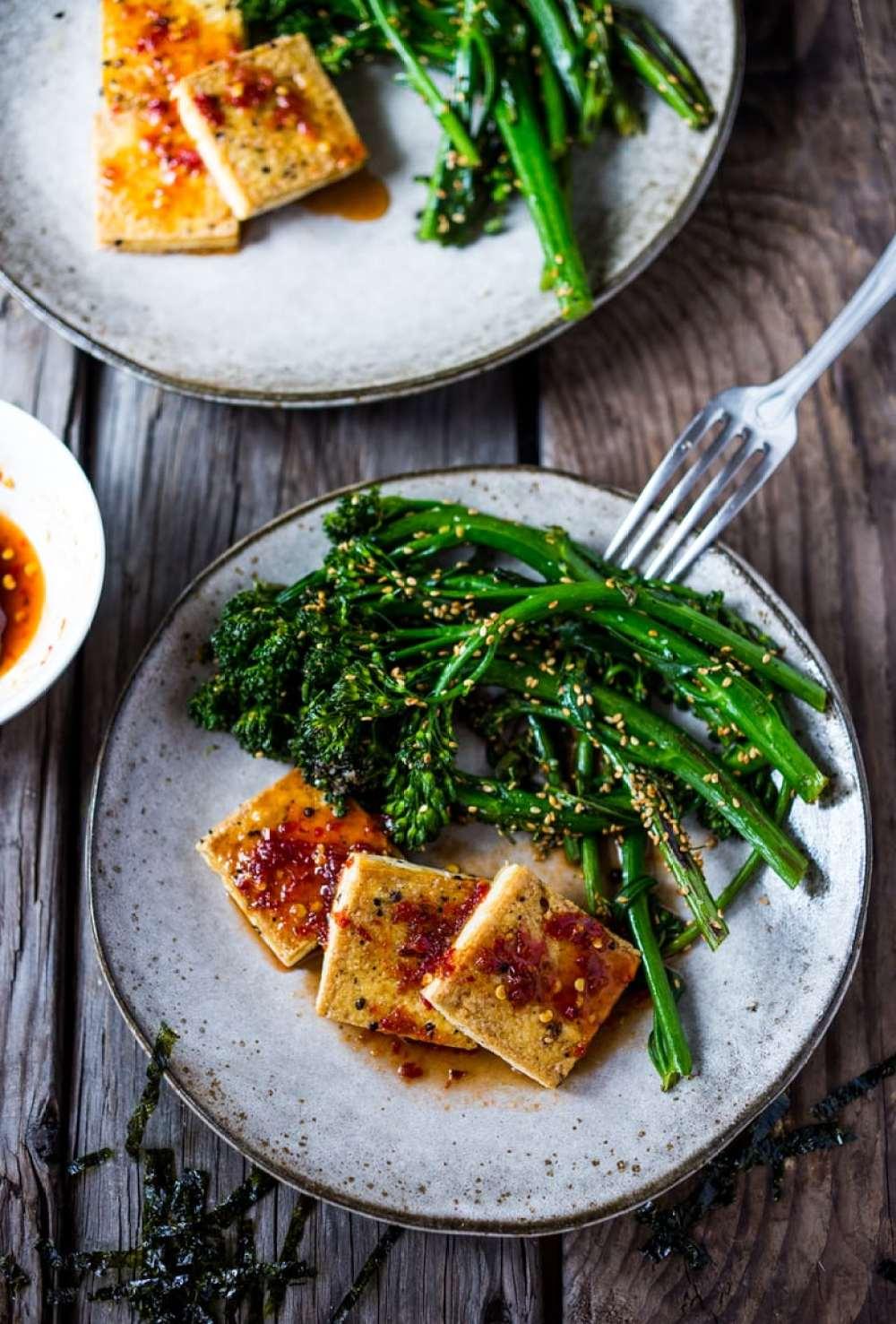 Garlic Chili Tofu with Sesame Broccolini