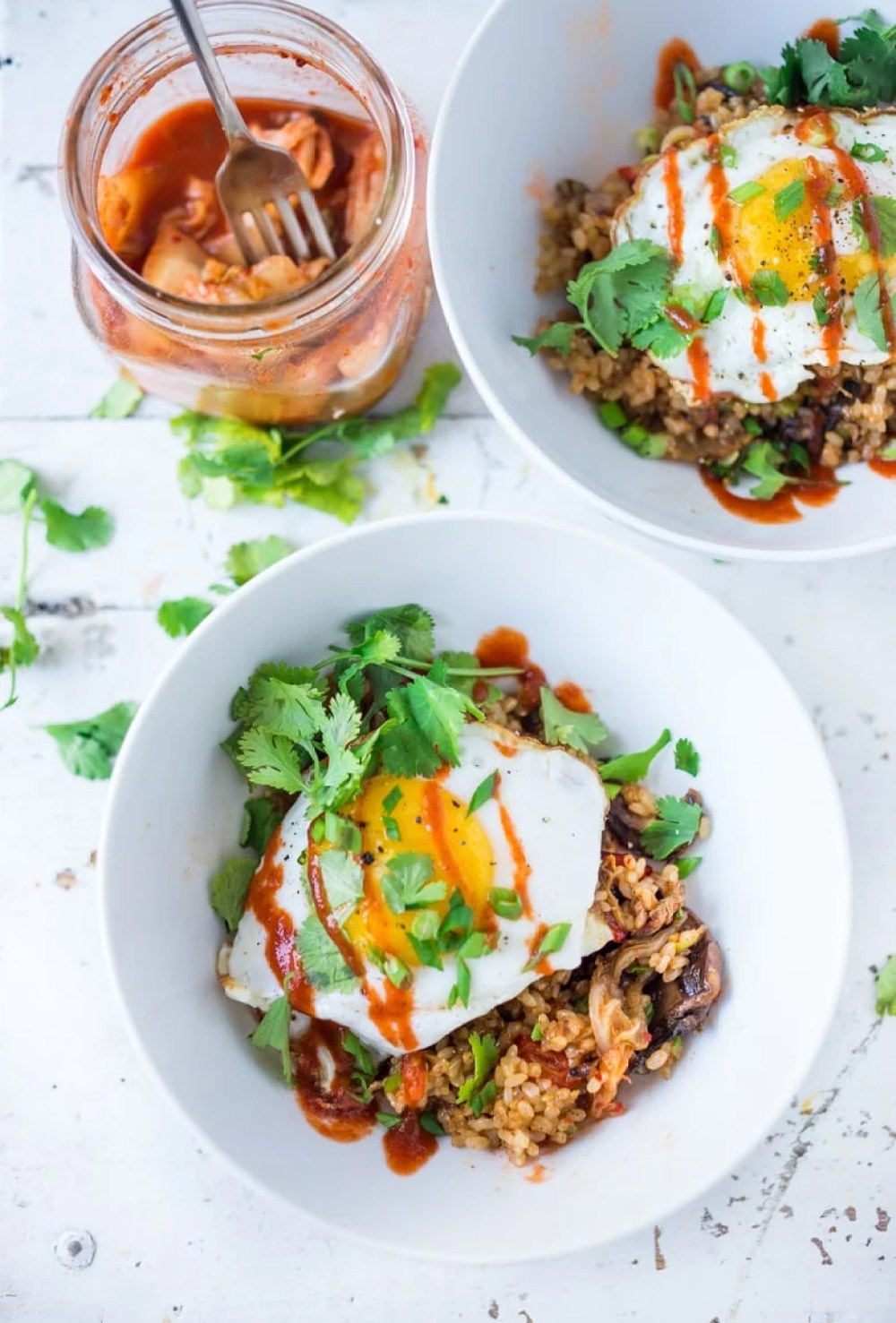 Kimchi Rice- a healthier take using brown rice , seasonal veggies and less oil! | www.feastingathome.com