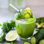 Mexican Green Smoothie...Chili Verde style with avocado, cucumber, jalapeño, cilantro, pineapple and orange. | www.feastingathome.com