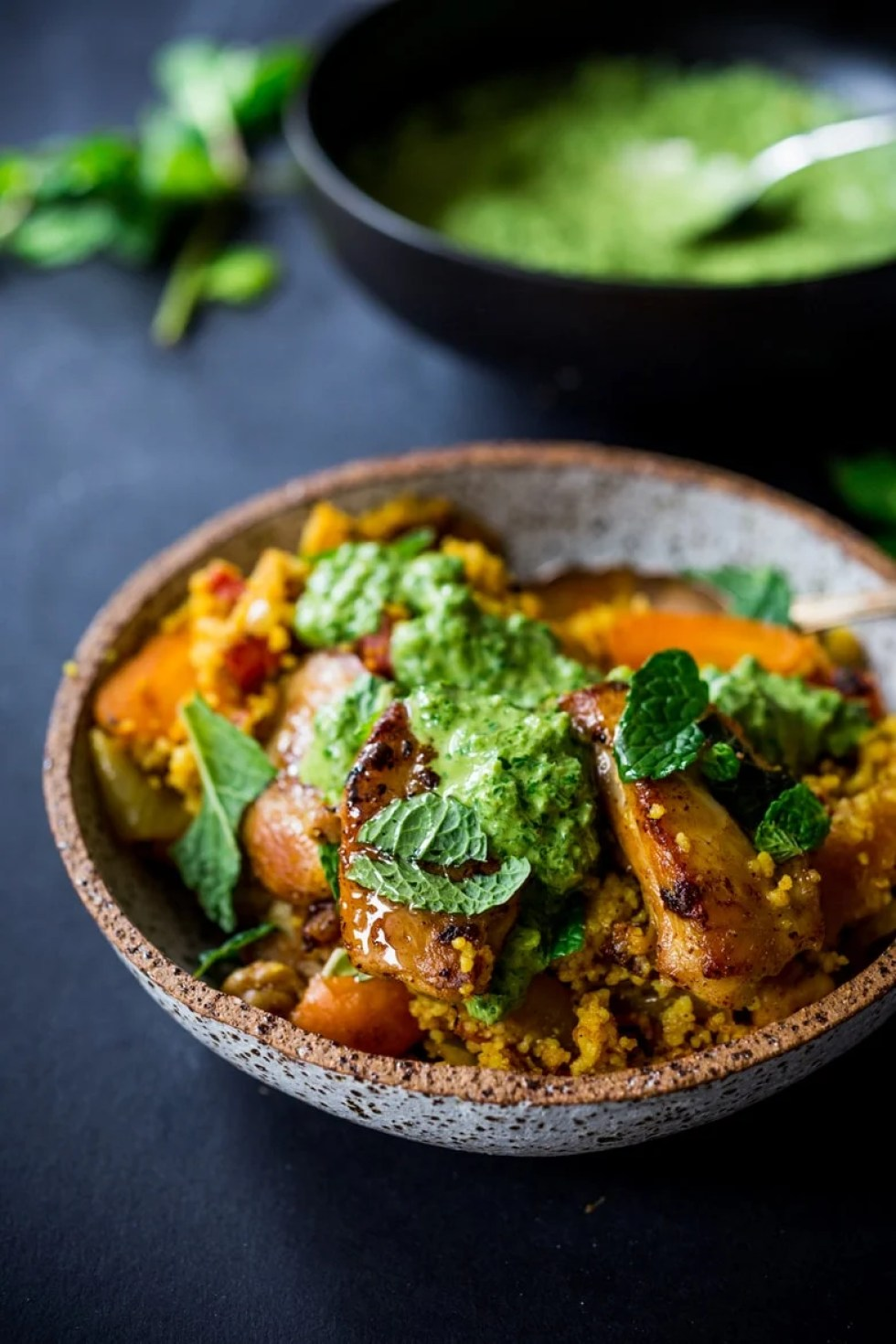 Tunisian Chicken Or Chickpeas W Couscous Amp Green Harissa Yogurt Sauce Feasting At Home