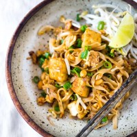 Easy to Make Pad Thai with Chicken Shrimp or Tofu
