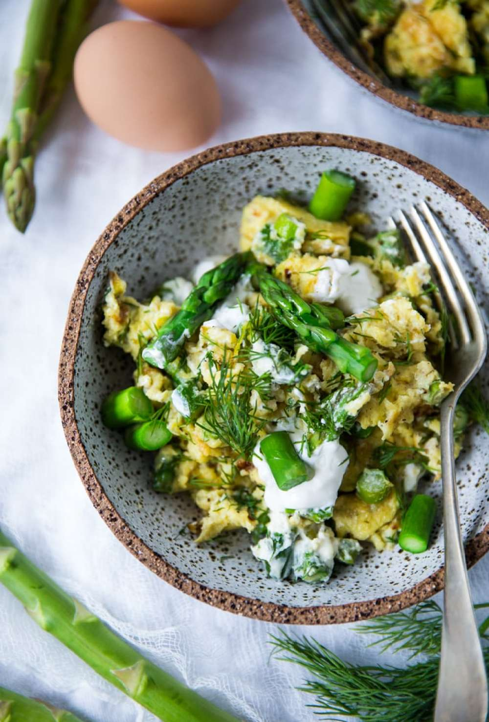 Scrambled Eggs with Asparagus, Leeks, Chèvre and Dill