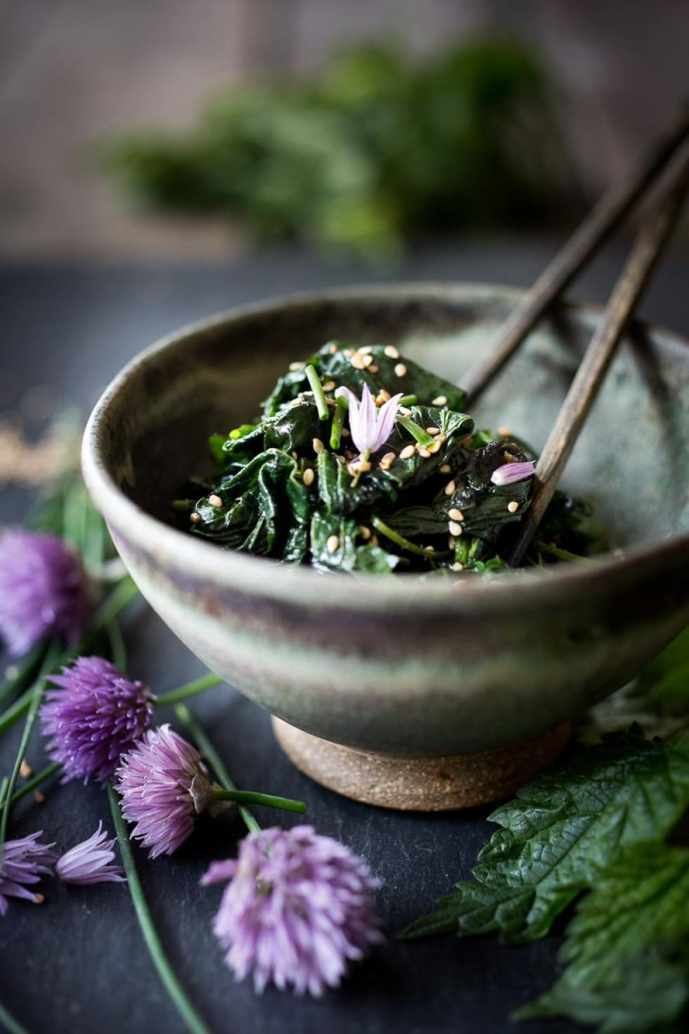 How to cook nettles! Steamed Nettles w/ Toasted Sesame Seeds, Sesame oil and Chives. Easy, delicious and detoxifying! Full of calcium and iron. #nettles #Vegan | www.feastingathome.com