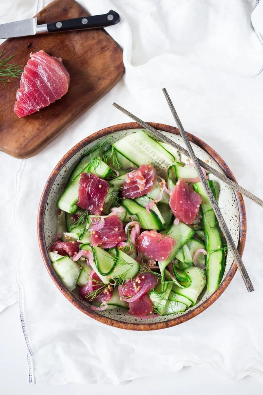 CUCUMBER AHI SALAD WITH PICKLED ONION, MUSTARD SEED & DILL