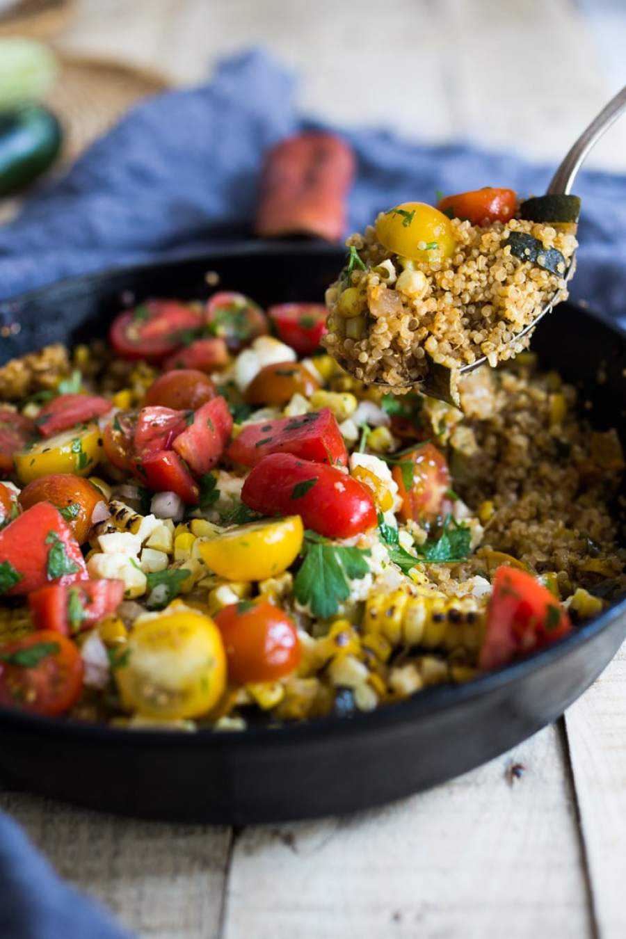 BAKED QUINOA WITH ZUCCHINI AND CHARRED CORN