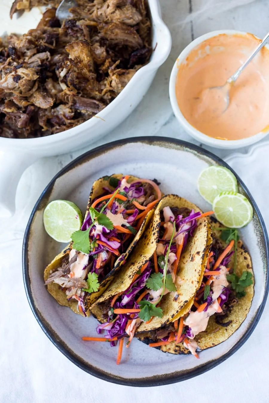 SLOW-ROASTED FIVE SPICE PULLED PORK (OR BEEF) TACOS