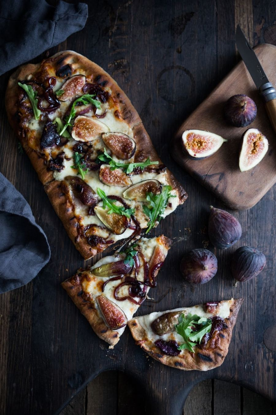 Grilled Fig Pizza with Balsamic Onions and Gorgonzola