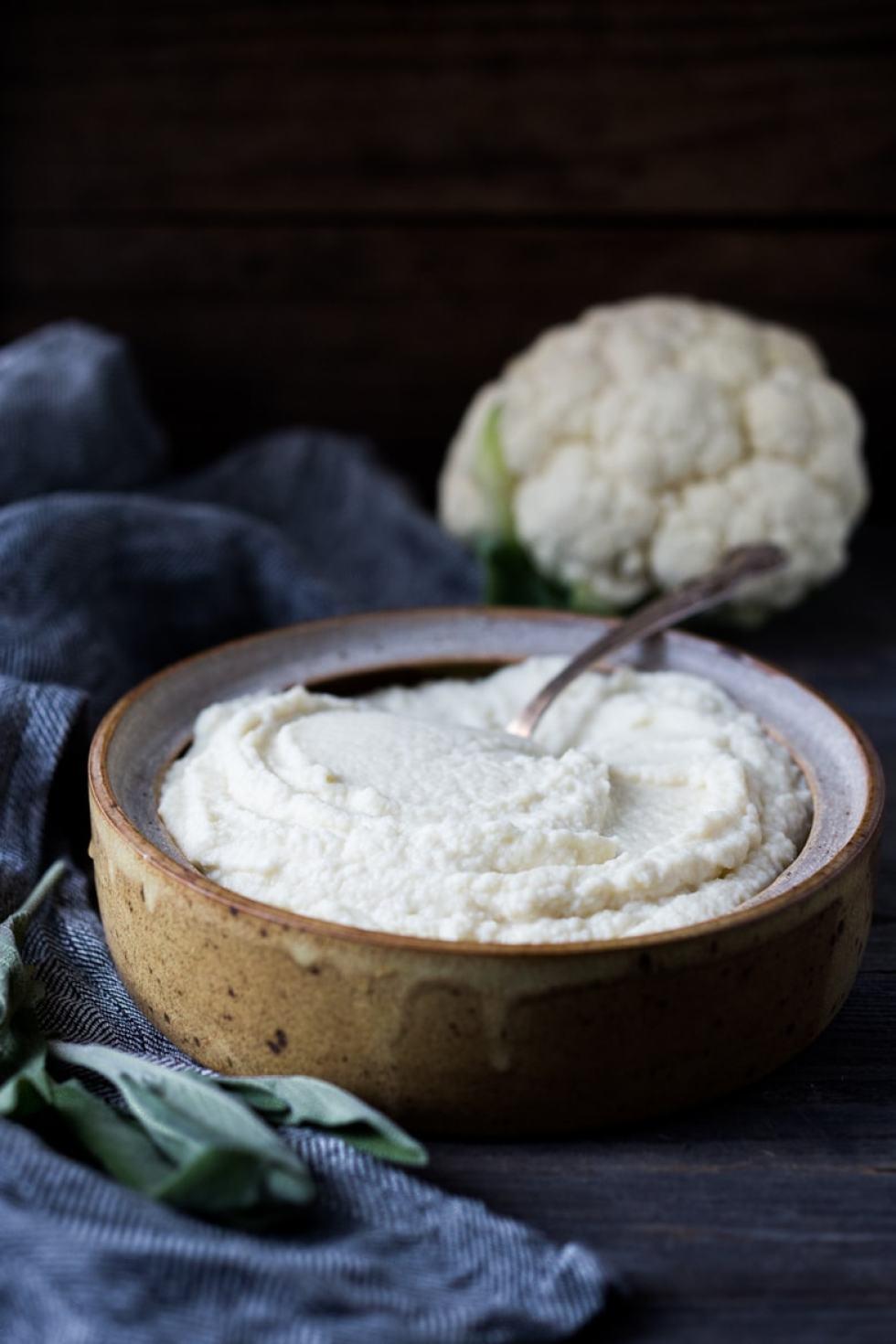 Cauliflower Mash with Roasted Garlic- served three ways. | www.feastingathome.com