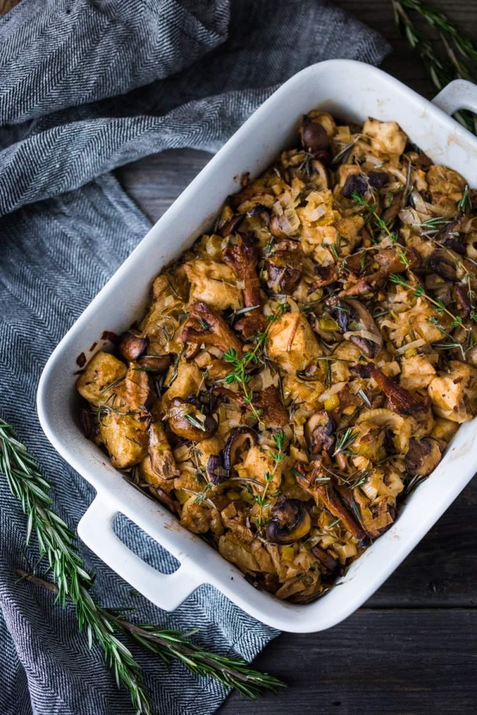 Wild Mushroom Fennel & Leek Stuffing- savory and flavorful, the perfect Thanksgiving side. | www.feastingathome.com