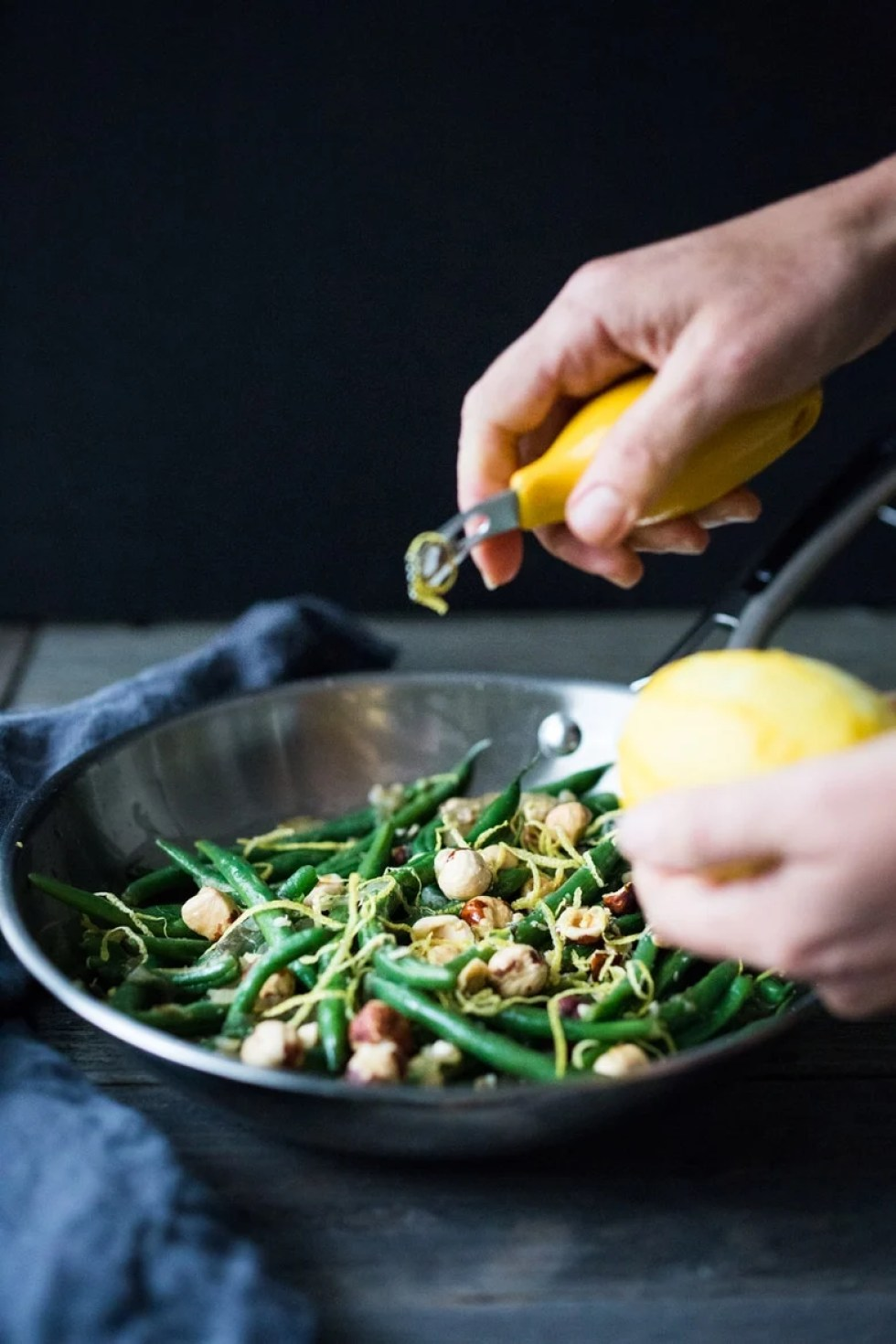 Truffled Green beans with Hazelnuts, Shallots and Lemon Zest - a quick, delicious and elegant side dish, perfect for the holidays.   www.feastingathome.com