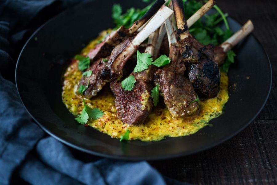 Roasted Lamb Chops with Indian Curry Sauce | Feasting At Home