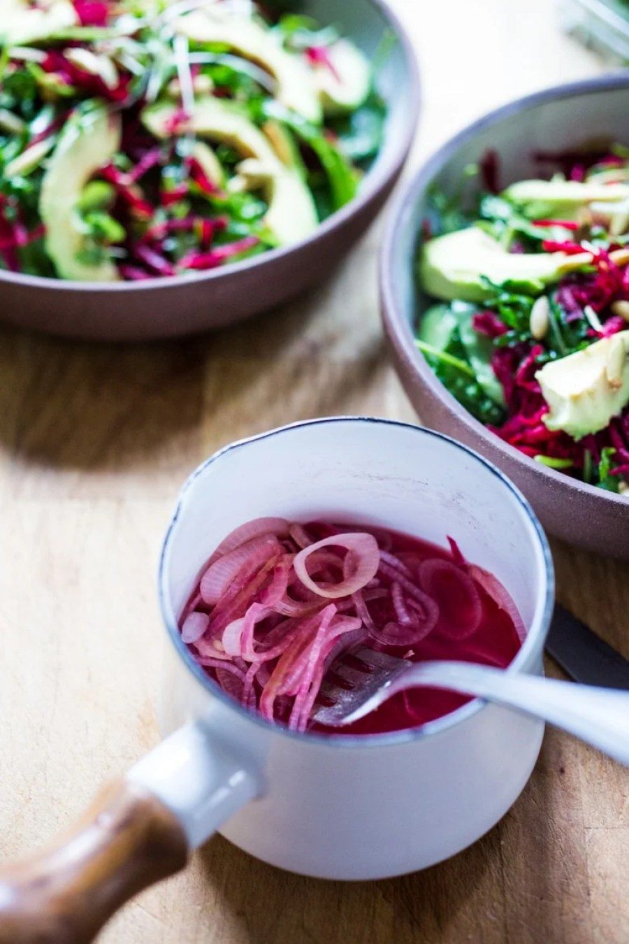QUICK PICKLED SHALLOTS add the BEST flavor! Serve over salads, wraps or in sandwiches! | www.feasingathome.com