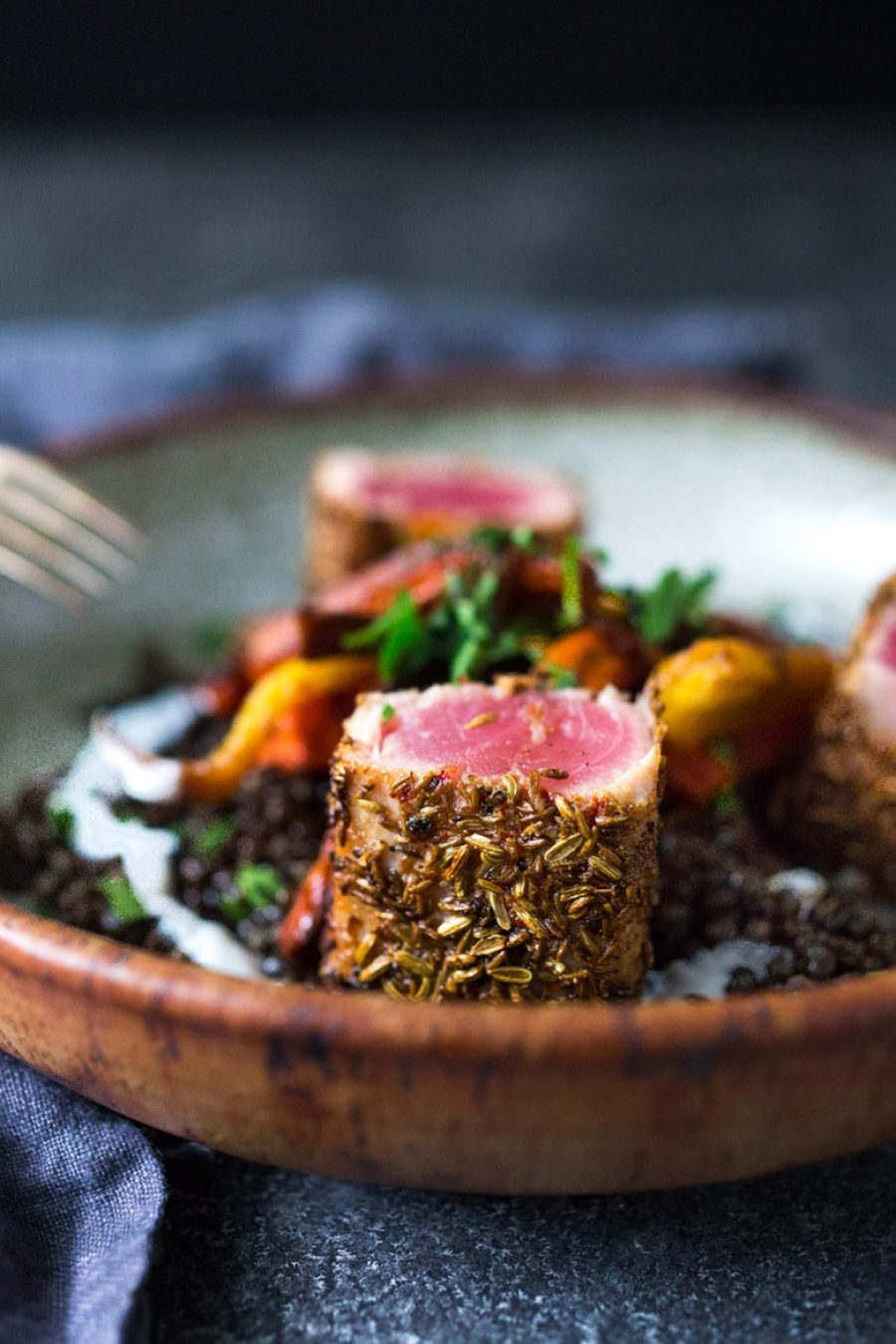 Cumin & Fennel Seed Crusted Ahi with Spiced Lentils