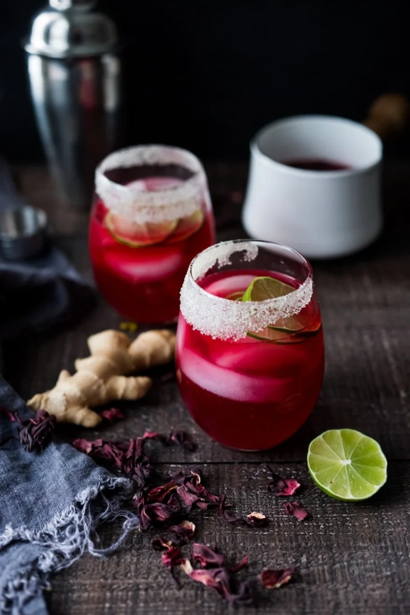 Hibiscus Margarita with Ginger and Clove- the perfect Cinco de Mayo cocktail - refreshing, delicious and easy to make!   www.feastingathome.com