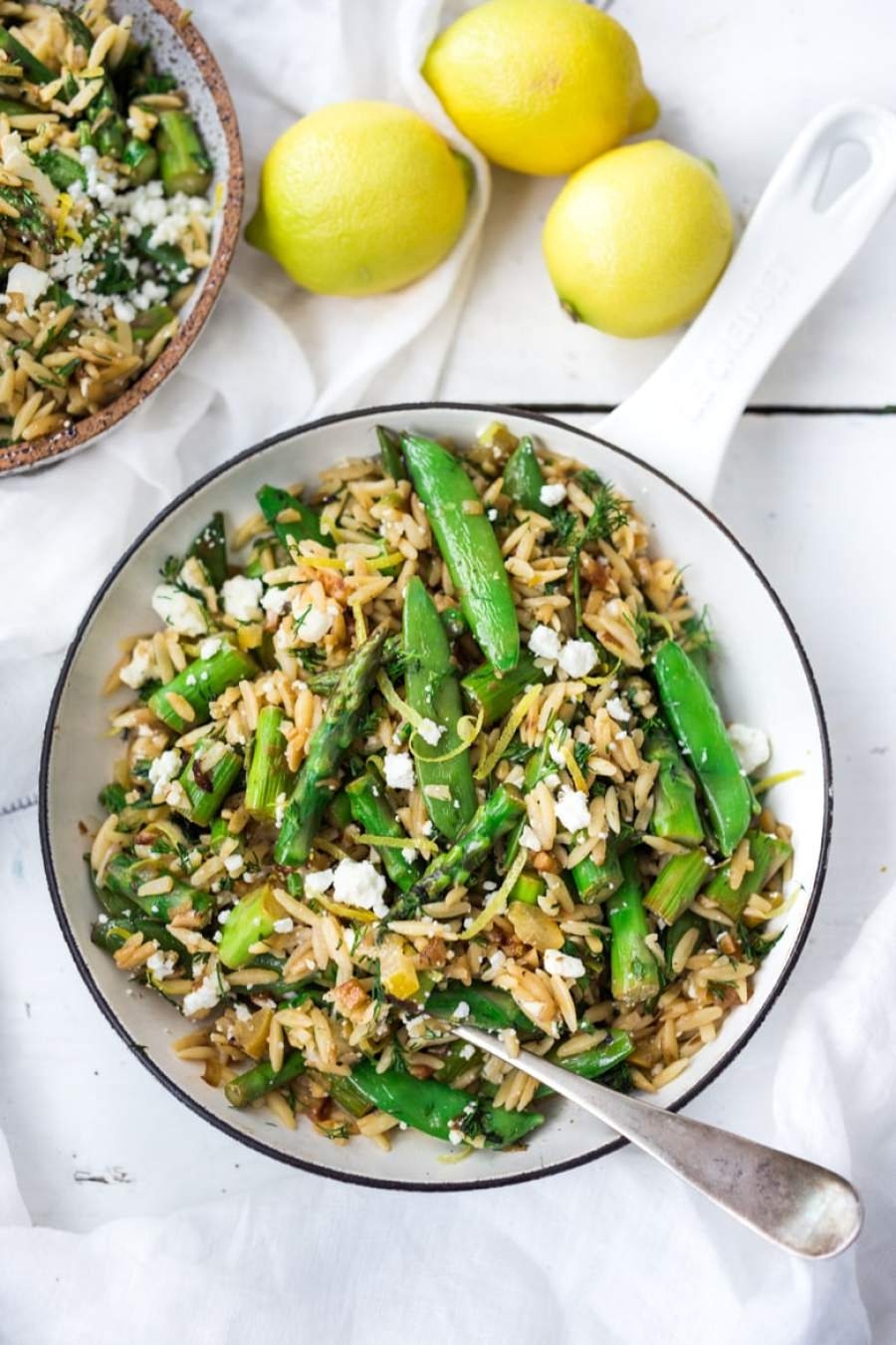 Spring Orzo Pasta with Asparagus, Lemon and Dill- serve this warm as quick flavorful entree or chilled as a side salad.