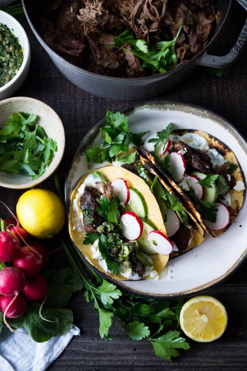 Greek lamb Tacos with Minted Yogurt Sauce, cucumber, radish, feta and ...