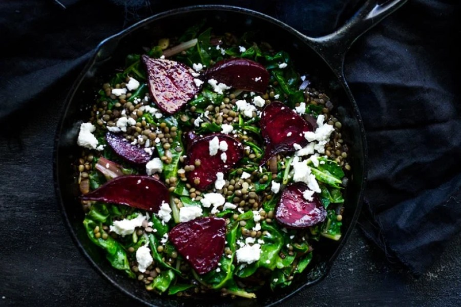 Warm Lentils with Wilted Chard, Roasted Beets and Goat ...