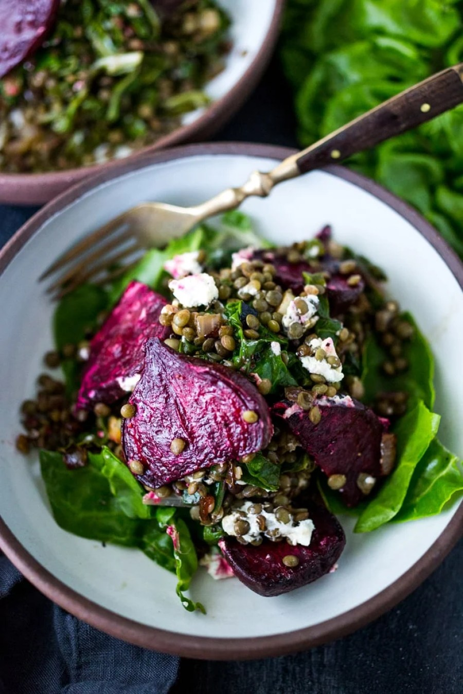Warm Lentils with Wilted Chard, Roasted Beets and Goat Cheese