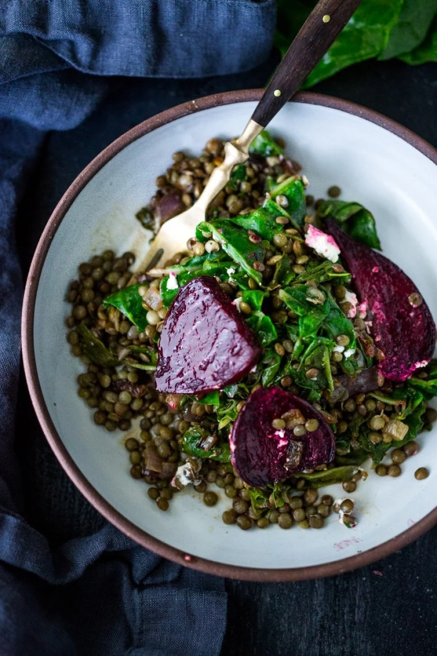 Warm Lentils with wilted chard, roasted beets, goat cheese and spring herbs. A simple tasty vegetarian meal! #halfcuphabit #justaddpulses | www.feastingathome.com