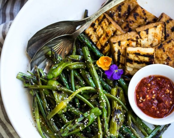 Grilled Garlic Scapes with Asparagus and Shishito Peppers