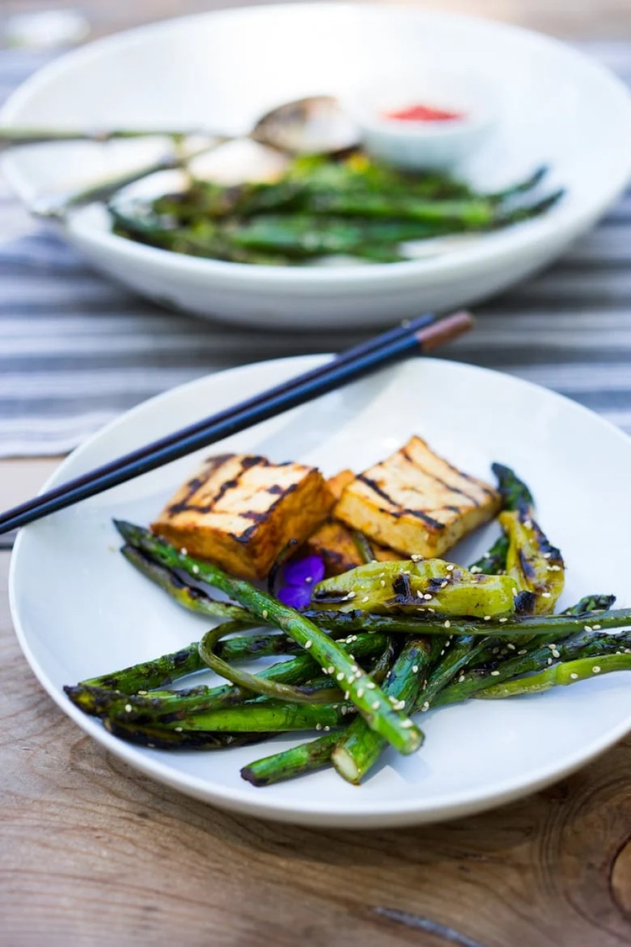 Grilled Garlic Scapes, Asparagus and Shishito Peppers with Sesame - a vegan, gluten-free adaptable side dish, perfect for summer! | www.feastingathome.com