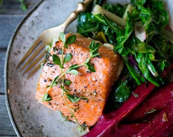 Roasted Salmon with Rhubarb and Chard