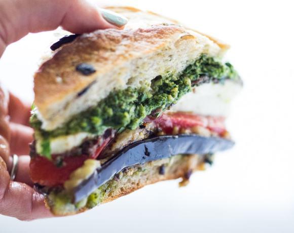 Grilled Eggplant Muffuletta Sandwich