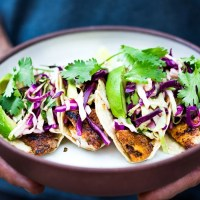 Grilled Fish Tacos with Cilantro Lime Cabbage Slaw