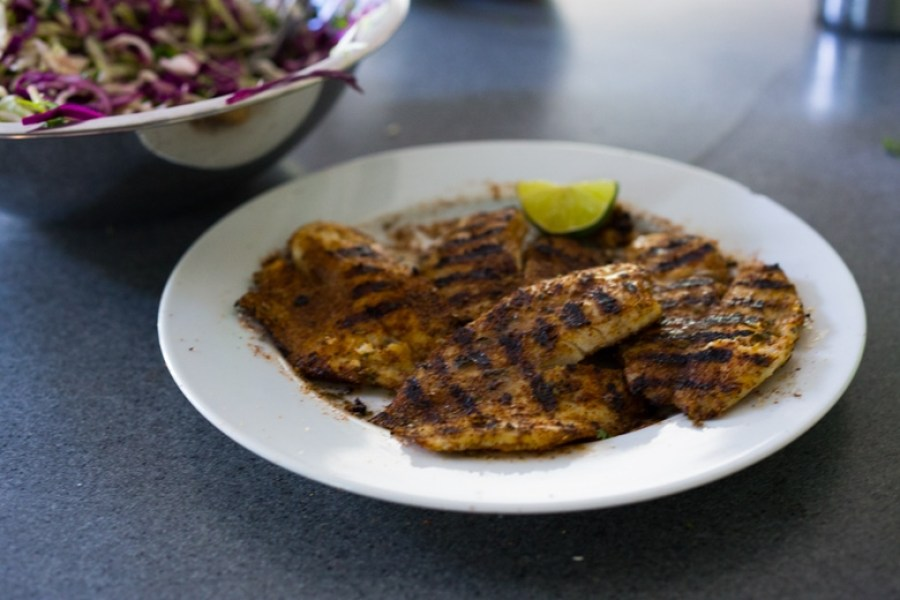 """Grilled Fish ( or Tofu) Tacos - my """"go-to"""" healthy dinner that be made in 30 minutes flat. 