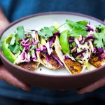 Grilled fish tacos with cilantro lime cabbage slaw | www.feastingathome.com