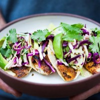 Quick Grilled Fish Tacos w/ Cilantro Lime Cabbage Slaw