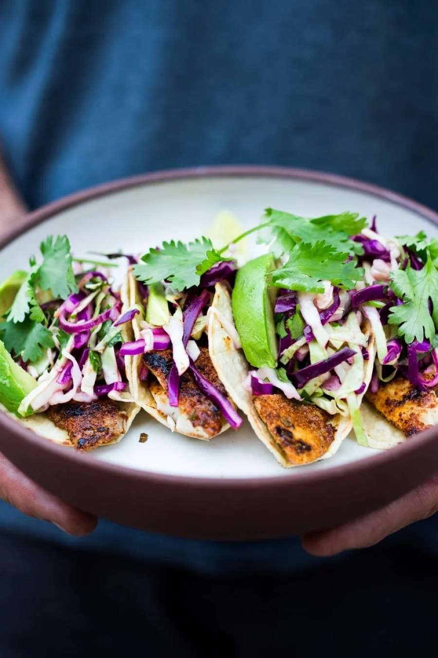 "Grilled Fish (or Tofu) Tacos with Cilantro Lime Cabbage Slaw- a ""go-to"" healthy dinner that be made in 30 minutes flat. 