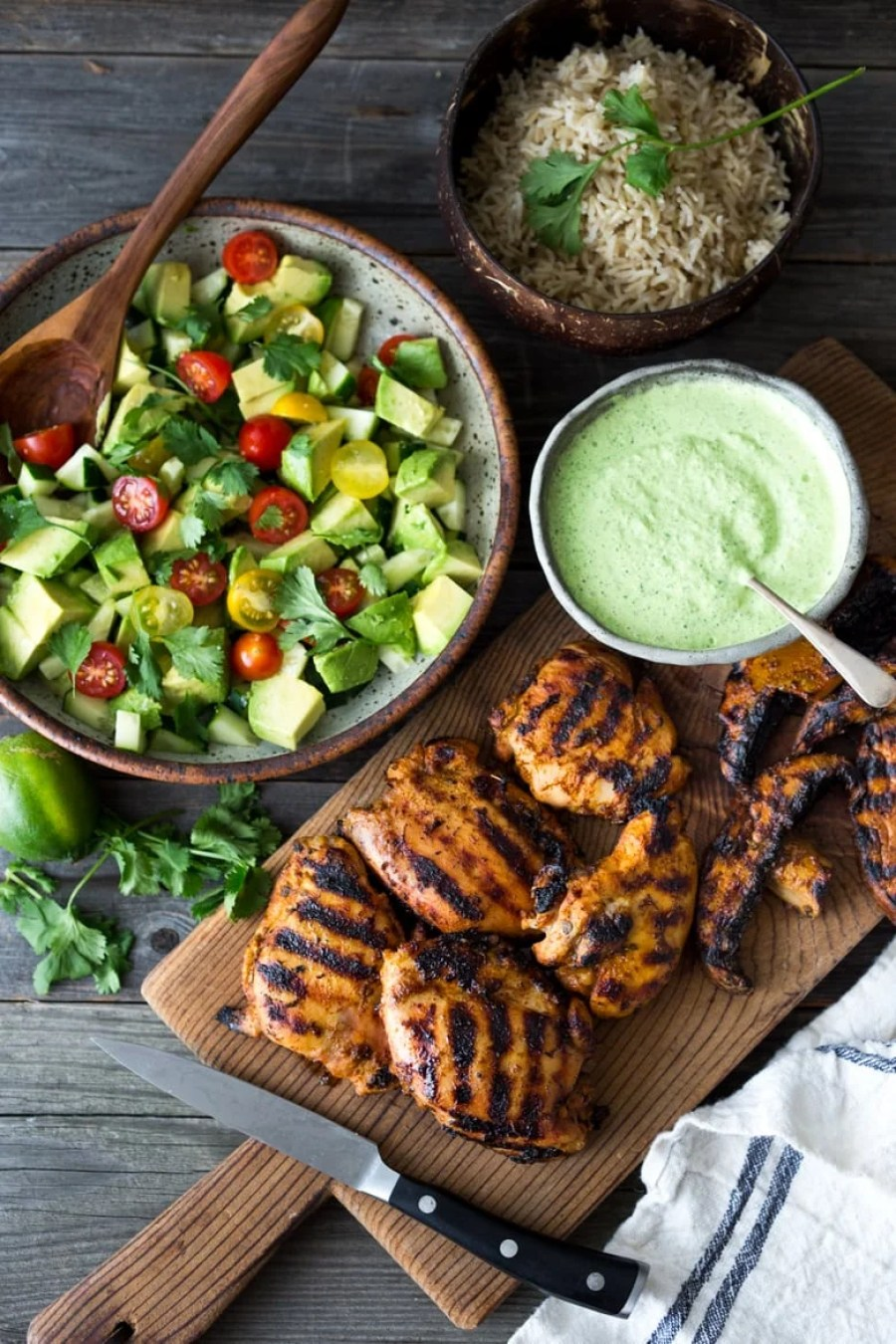 Grilled Peruvian Chicken with Green Sauce