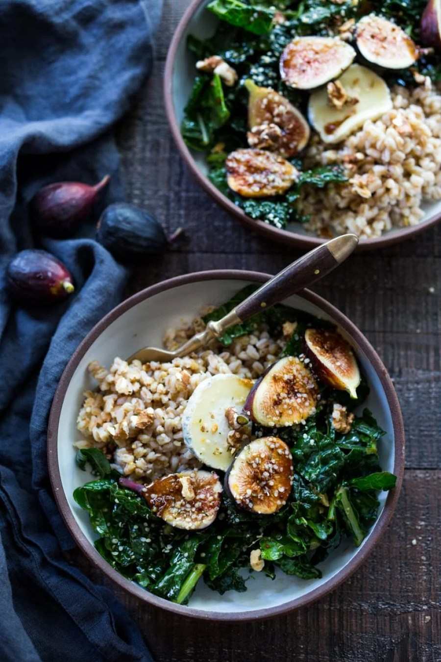 Farro Bowl with Figs, Kale & French Goat Cheese