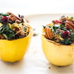 Stuffed Spaghetti Squash with Pecans, Kale & Craisins - a vegan, gluten free meal that is simple, perfect for busy weeknights!