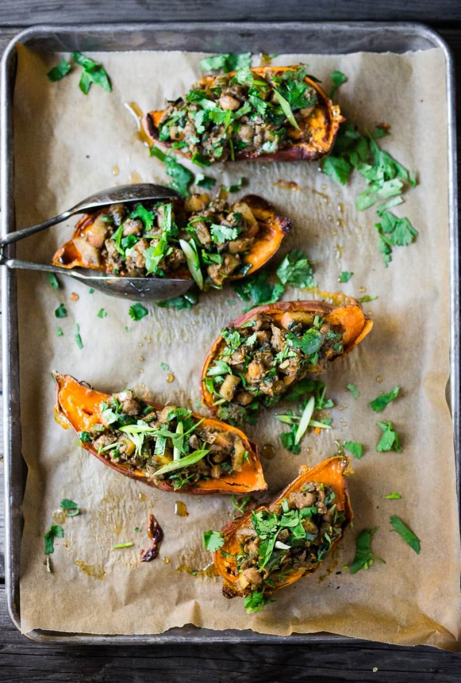 15 Cozy Fall Dinners that are MEATLESS!  Moroccan Stuffed Sweet Potato w/ chickpeas   www.feastingathome.com