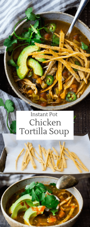 Instant Pot Chicken Tortilla Soup - made from scratch and in a fraction of the time. Delicious and hearty, loaded with chicken, this soup will warm you to your bones!