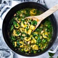 Brothy Tortellini Soup w/ Spinach, White Beans & Basil