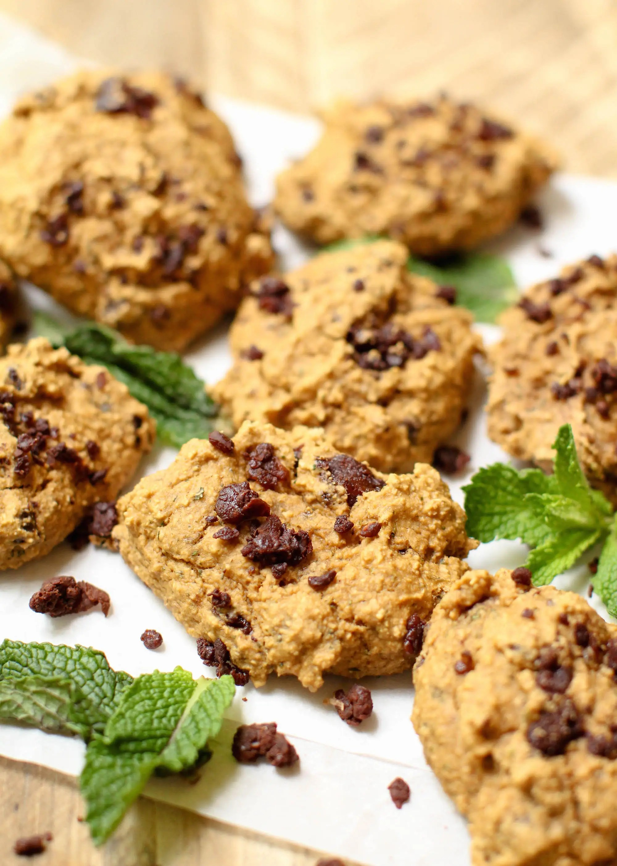 Mint Chocolate Chip Cookies (GF + HCLF) - Feasting on Fruit