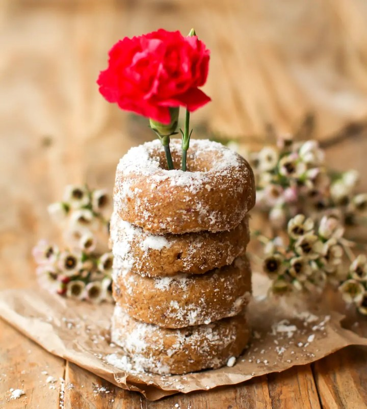 Mini Powdered Vegan Baked Donuts - FeastingonFruit.com