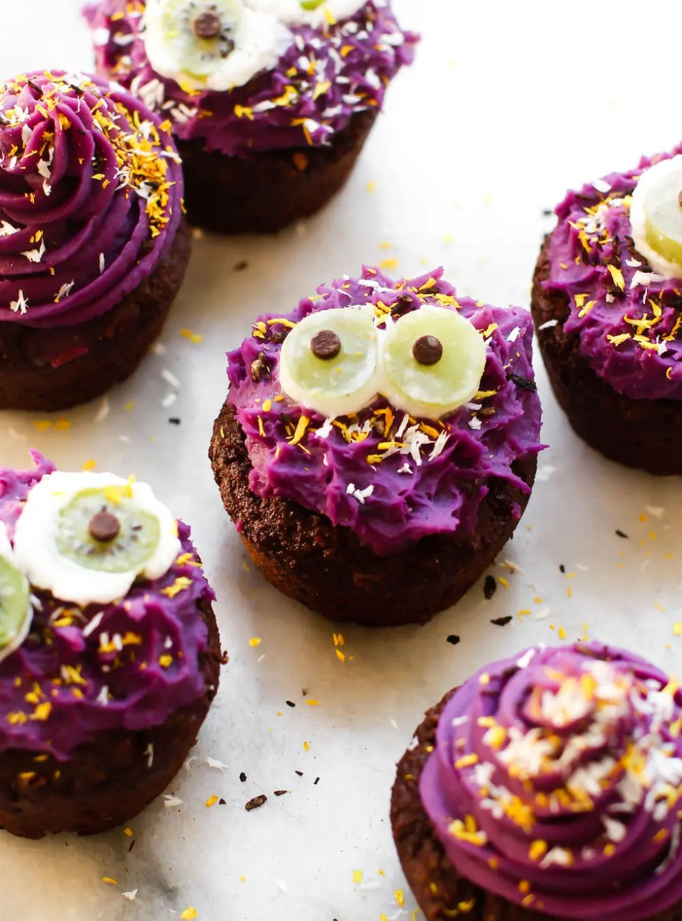 vegan halloween cupcake monsters | gluten-free, oil-free, healthy