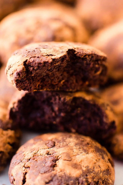Triple Chocolate Flourless Crinkle Cookies