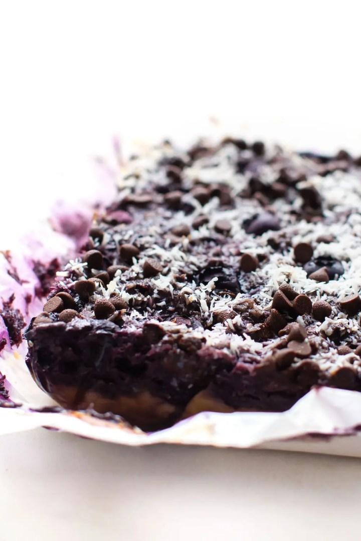 Blueberry Magic Cookie Bars (vegan & paleo)